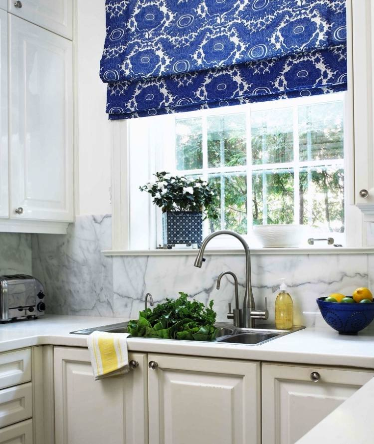 Blue and white kitchen curtains
